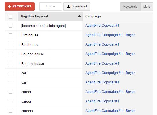 real-estate-negative-keyword-list