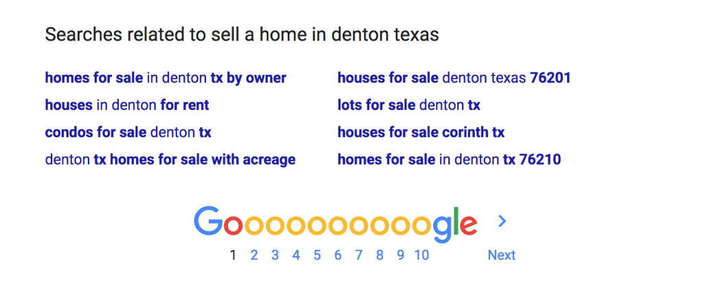 Google Suggested Search Results Sell a Home in Denton Texas