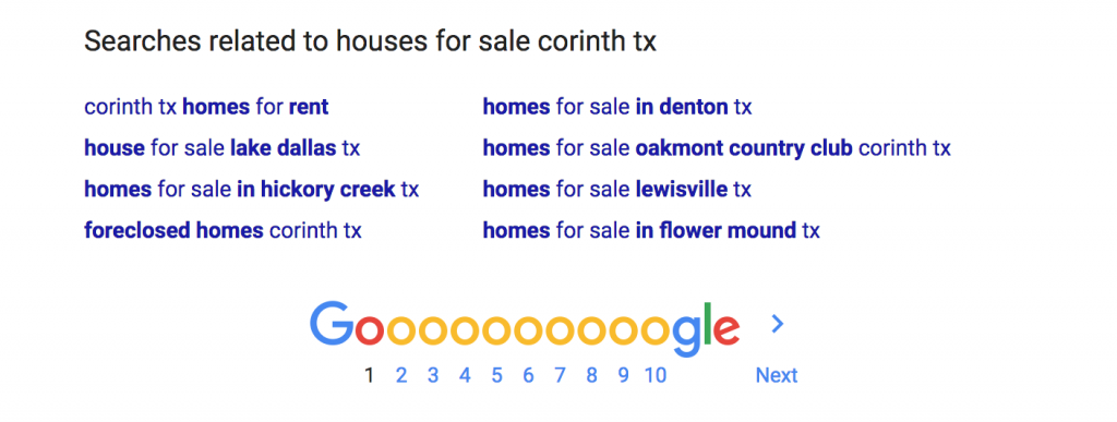 Google Suggested Search Results Houses for Sale Corinth TX