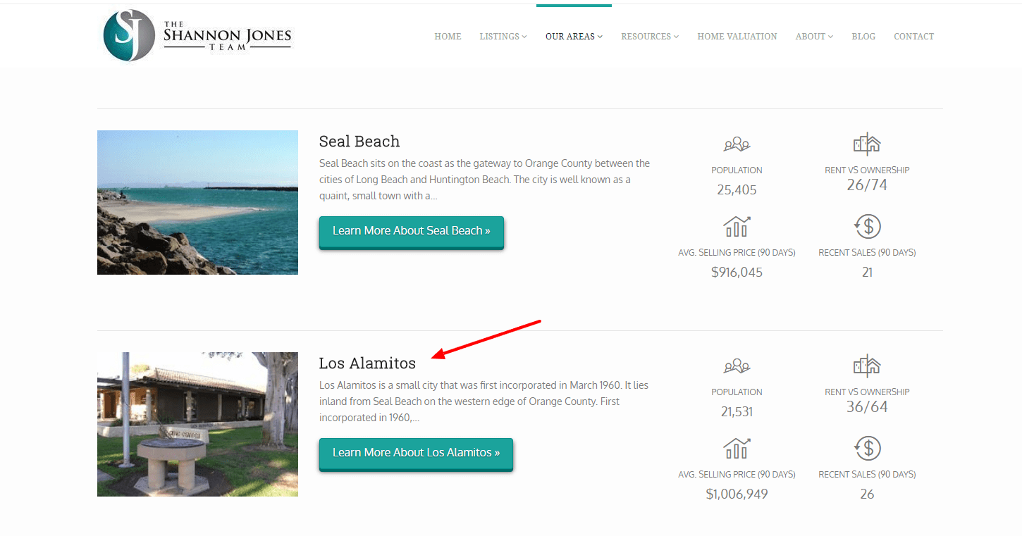 As you add new Neighborhood pages, they'll display both on the parent City page