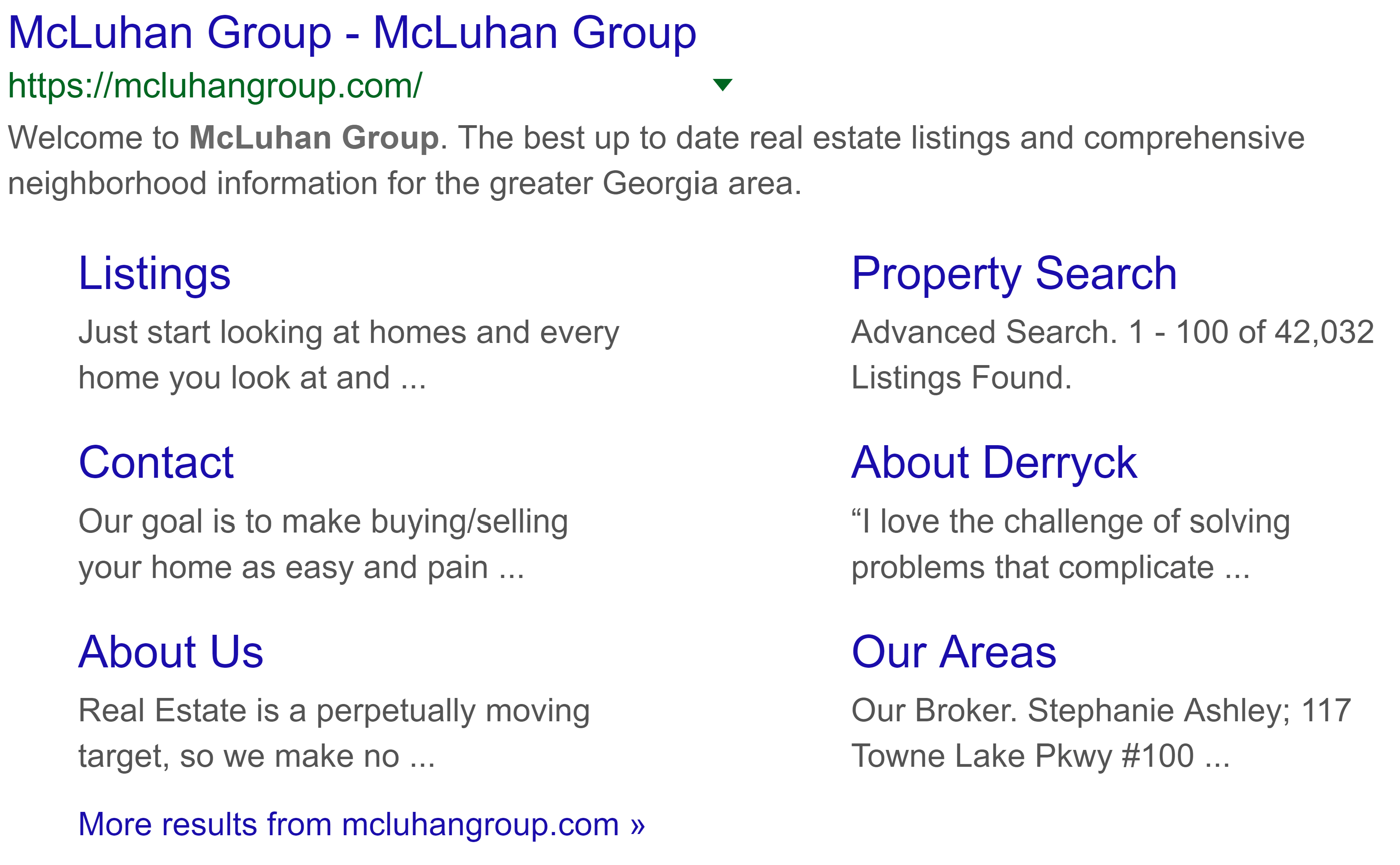 Google search result with an example of additional links added to a search result through the use of schema markup for real estate seo