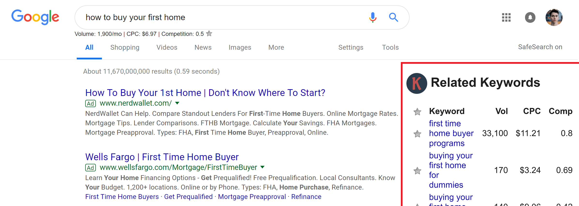 Related keyword suggestions displayed on a Google search for real estate SEO by the Keywords Everywhere Chrome Extension