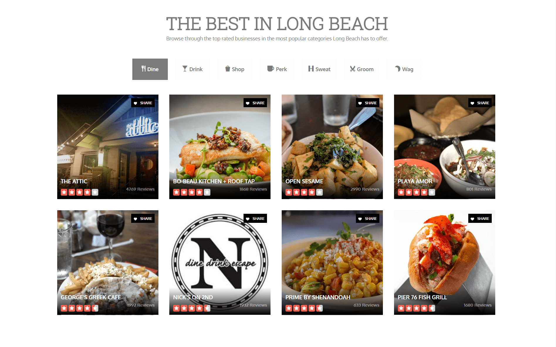 Other content area features of Neighborhood pages include localized Yelp listings.