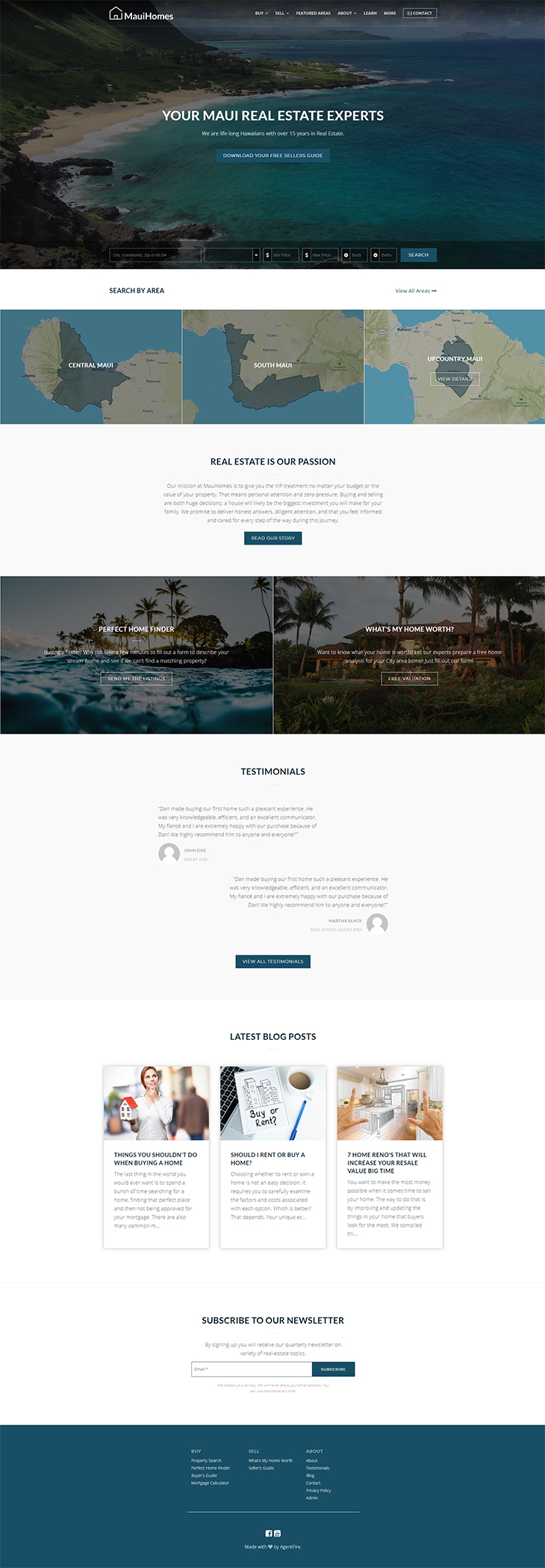 Full Homepage created with Spark Blocks