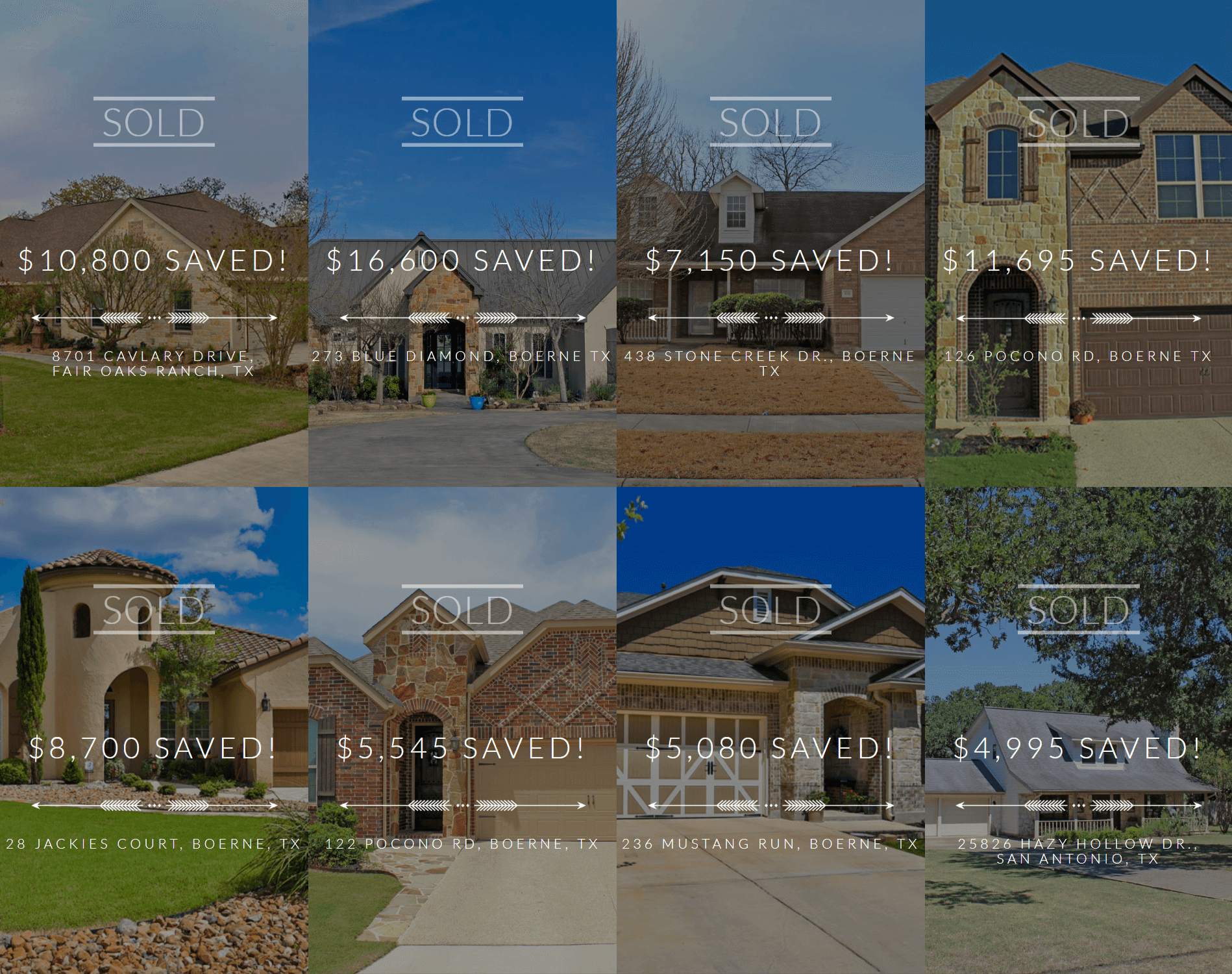 Example of real estate social proof. Grid of 8 sold homes with the amount of money saved over each one.