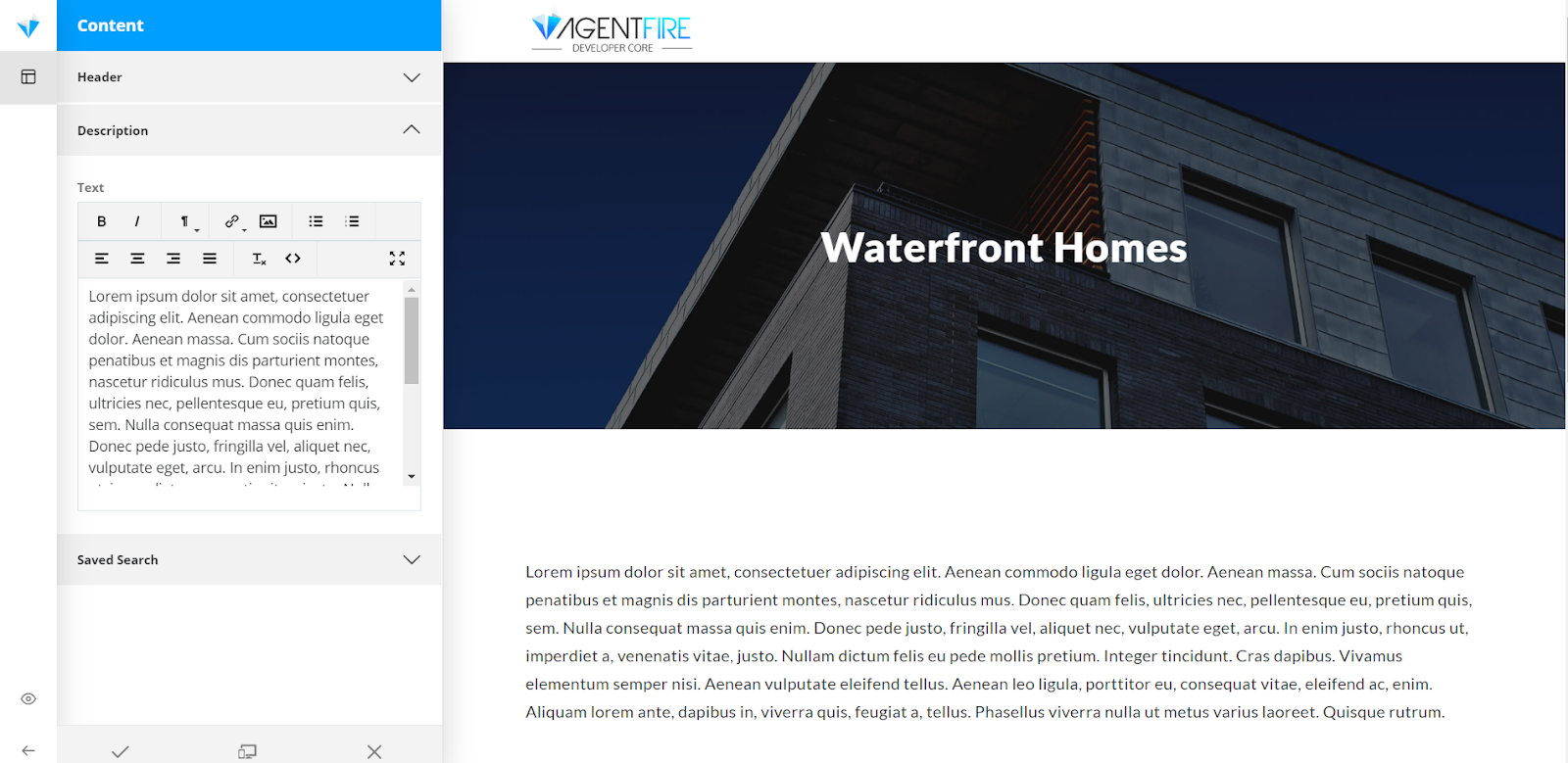 A screenshot of the AgentFire editor dashboard, allowing real estate agents to edit their Search Pages easily.
