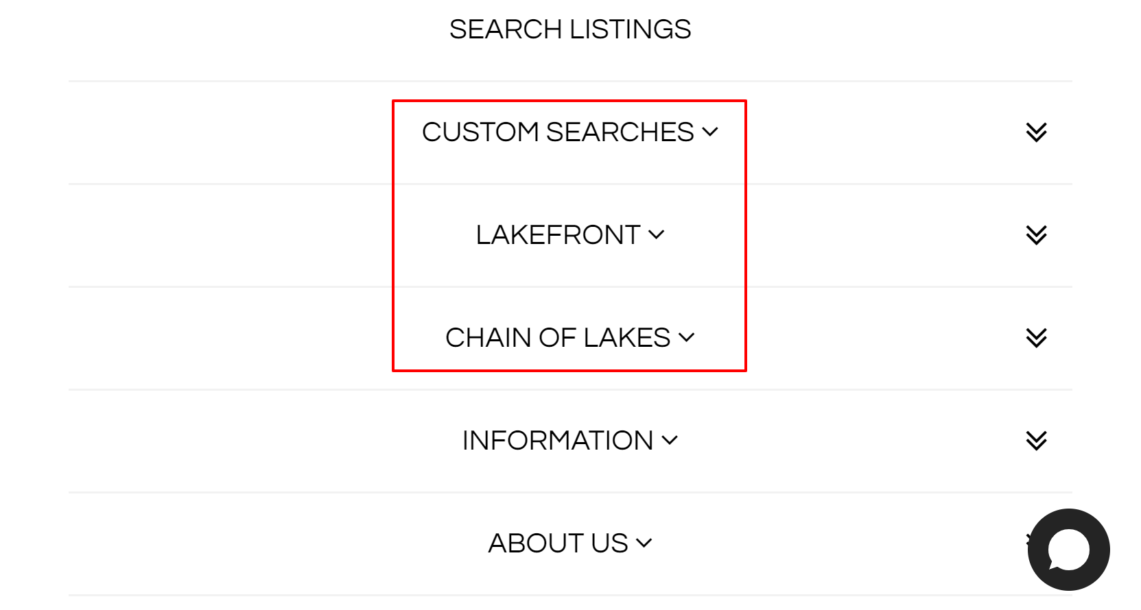 An example of 3 different types of saved IDX search results, that have been neatly organized and listed on a real estate agents website.