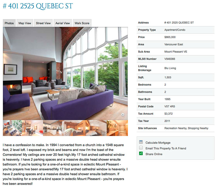 Church into home listing