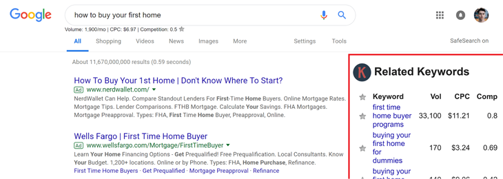 how to buy your first home serp