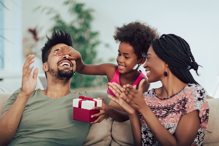 family giving a gift