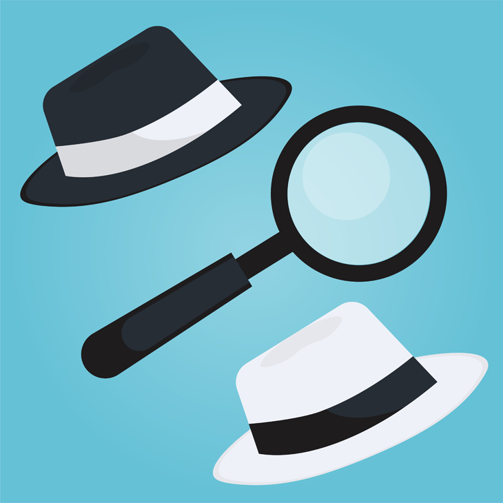 white hat and black hat