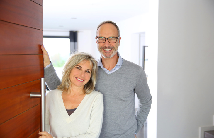 Adult couple in their home